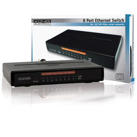 König 8-poorts ethernet switch 10/100 Mbps